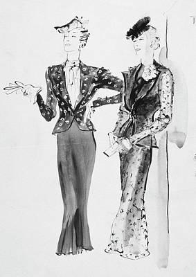 Digital Art - Illustration Of Women Wearing Afternoon Dresses by Rene Bouet-Willaumez