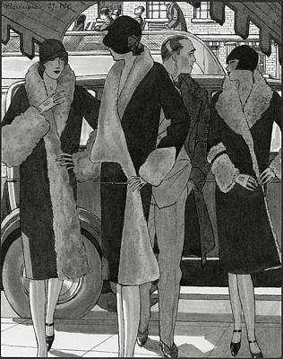 Illustration Of Women Wearing Coats Print by Pierre Mourgue