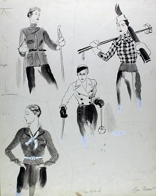 Winter Sports Digital Art - Illustration Of Women Wearing Ski Clothing by Rene Bouet-Willaumez