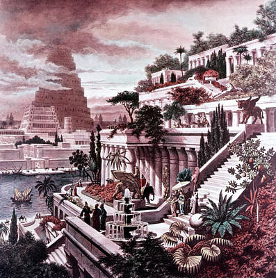 Wonder Of The World Painting - Illustration Seven Wonders by Vintage Images