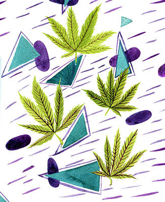 Illustrations Of The Cannabis Leaf Art Print by Stock Pot Images