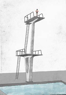 Digital Art - Illustrative Image Of Man Standing On by Malte Mueller