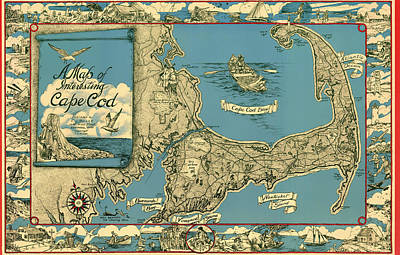 Cape Cod Drawing - Illustrative Map Of Cape Cod 1945 by Mountain Dreams