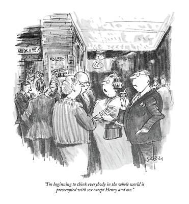 Theater Drawing - I'm Beginning To Think Everybody In The Whole by Charles Saxon