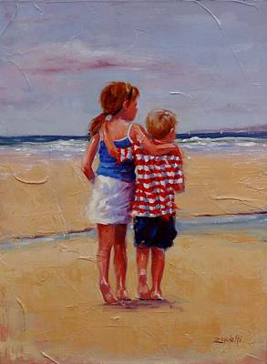 Siblings Painting - I'm Coming Too by Laura Lee Zanghetti