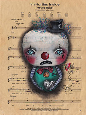 Pop Surrealism Painting - I'm Hurting Inside - Clown by Abril Andrade Griffith