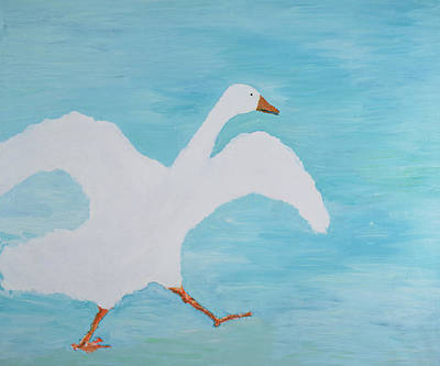 Geese Painting - Im Late Again, 2000 by Jacob Sutton