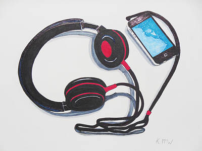 Liverpool Mixed Media - Headphones 1 by Kenneth A Mc Williams