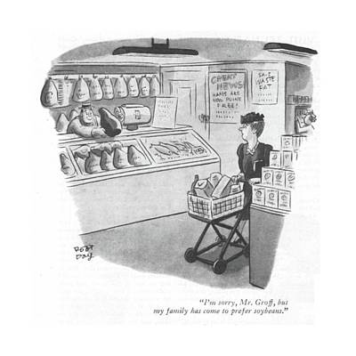 Grocery Drawing - I'm Sorry, Mr. Groff, But My Family Has Come by Robert J. Day