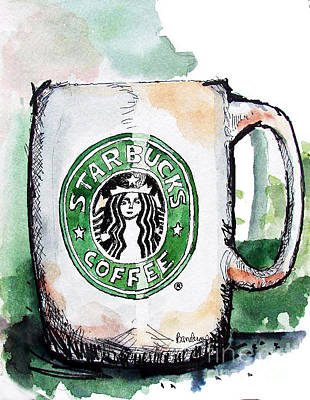 I'm Thinking Starbucks Art Print by Terry Banderas
