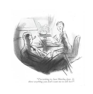 I'm Writing To Aunt Martha Art Print by Leonard Dove