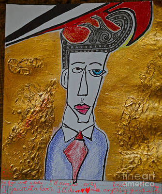 I'm Your Man - Sung By Leonard Cohen And  Doctor Faustus.happy New Year 2013.viewed 265 Times  Art Print by  Andrzej Goszcz