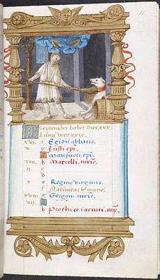 Image Of Man Fending Off Dog With A Broom Art Print by British Library