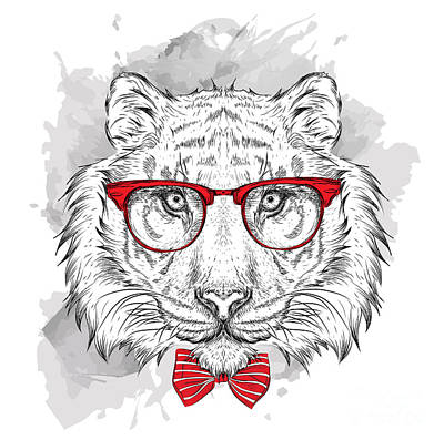 Pug Wall Art - Digital Art - Image Portrait Tiger In The Cravat And by Sunny Whale