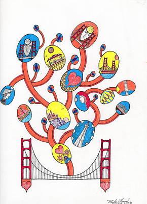 Image Vine Of Bridge And S.f. Art Print by Michael Friend