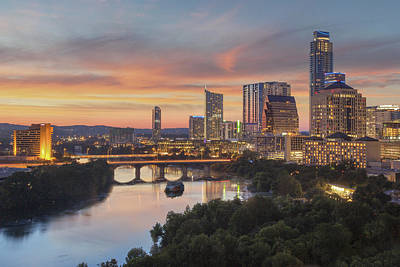 Austin Skyline Photograph - The Austin Skyline On A Summer Evening 1 by Rob Greebon
