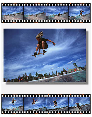 Compilation Photograph - Images Of Skateboarder Getting Big Air by Corey Hochachka