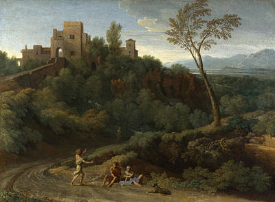 Painting - Imaginary Landscape With Buildings In Tivoli by Gaspard Dughet
