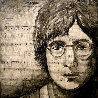 Music Drawing - Imagine by Debi Starr