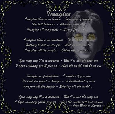 Lennon Mixed Media - Imagine Golden Scroll by Movie Poster Prints
