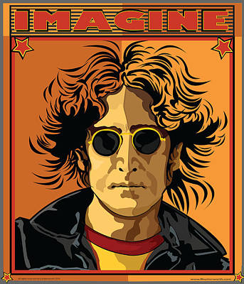 Fab Four Digital Art - Imagine by Larry Butterworth