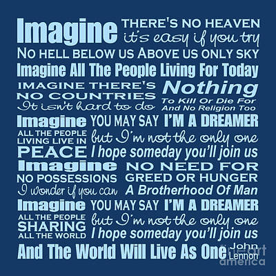 Digital Art - Imagine Song Lyrics - Blue by Ginny Gaura