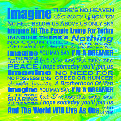 Digital Art - Imagine Song Lyrics - Landform by Ginny Gaura