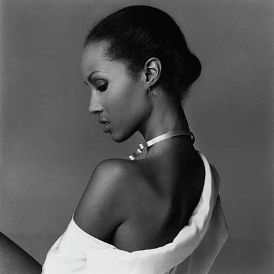 Iman Wearing A Necklace Art Print by Francesco Scavullo