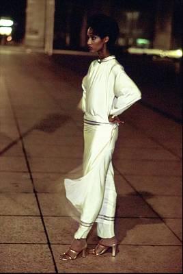 Photograph - Iman Wearing A Silk Genny Ensemble by Arthur Elgort