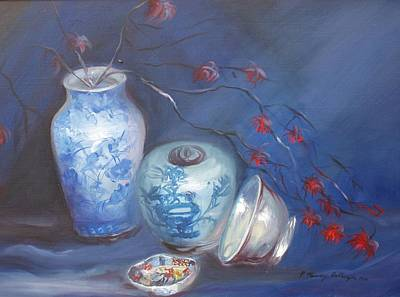 Imari And Flowers Original by Patricia Kimsey Bollinger