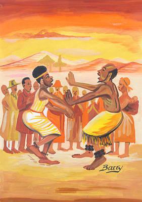 Art Print featuring the painting Imbiyino Dance From Rwanda by Emmanuel Baliyanga