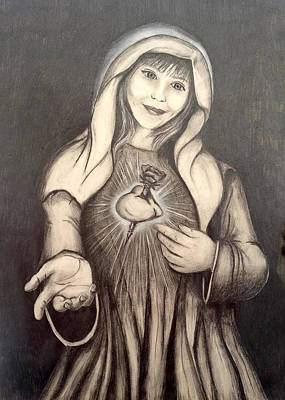 Smiling Jesus Drawing - Immaculate Heart by Lauren Espinoza