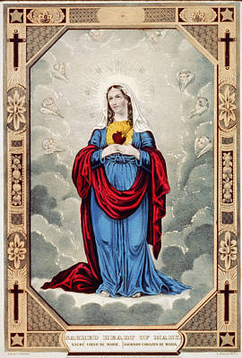 Immaculate Drawing - Immaculate Heart Of Mary by Granger