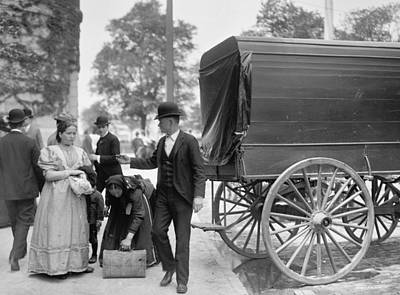 Immigrants At Battery Park, New York, N.y., C.1900 Bw Photo Art Print