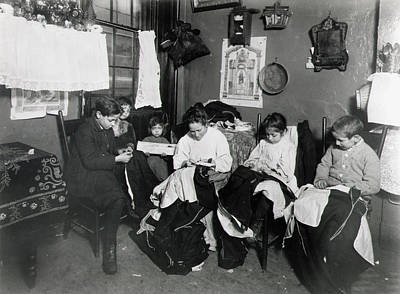 The Sewing Room Photograph - Immigrants Piecework by Granger