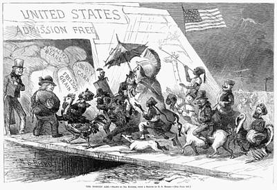 Immigration Painting - Immigration Cartoon, 1871 by Granger