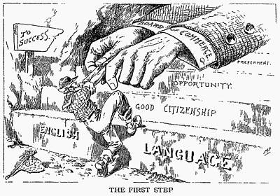 Immigration Painting - Immigration Cartoon, 1916 by Granger