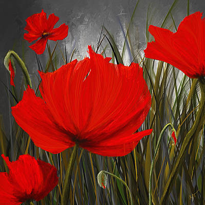 Poppies Art Painting - Immortal Blooms - Red And Gray Art by Lourry Legarde