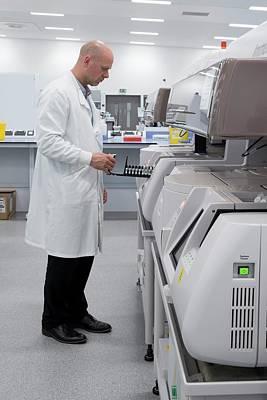 Immunology Testing In Pathology Lab Art Print by Aberration Films Ltd