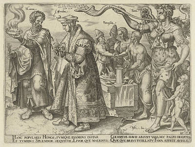 Gloria Drawing - Impact Of Wealth, Philips Galle, Hadrianus Junius by Philips Galle And Hadrianus Junius