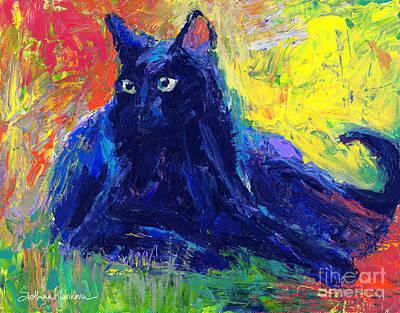 Impasto Black Cat Painting Art Print by Svetlana Novikova