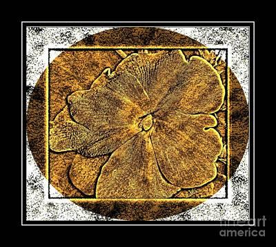 Brass Etching Digital Art - Impatiens Flower - Brass Etching by Barbara Griffin
