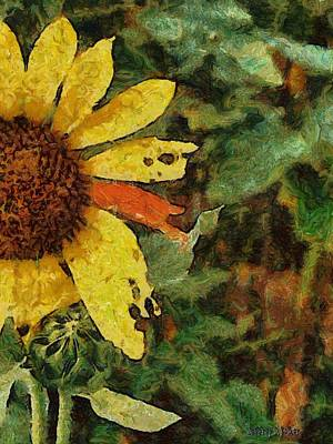 Sunflower Painting - Imperfect Beauty by Jeffrey Kolker