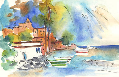 Beach Landscape Drawing - Imperia In Italy 02 by Miki De Goodaboom