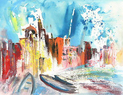 Beach Landscape Drawing - Imperia In Italy 03 by Miki De Goodaboom