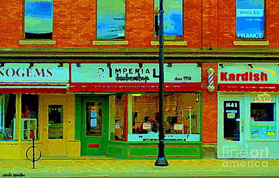 Painting - Imperial Barber Shop The Glebe Kardish Bulk Food Grocers Old Ottawa South Cityscenes Carole Spandau by Carole Spandau