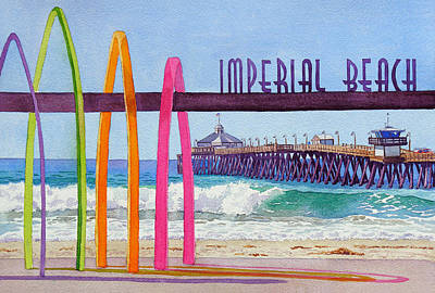 Signed Painting - Imperial Beach Pier California by Mary Helmreich