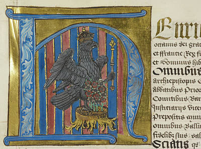 Imperial Falcon Inside Decorated Initial Art Print by British Library