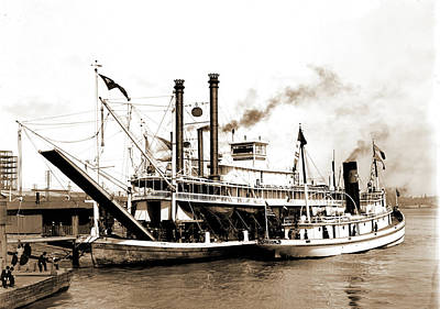 Steamboat Drawing - Imperial, New Orleans, The, Imperial Steamboat, Piers & by Litz Collection