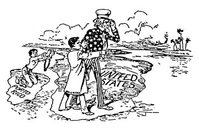 Uncle Sams Hat Painting - Imperialism Cartoon, 1900 by Granger